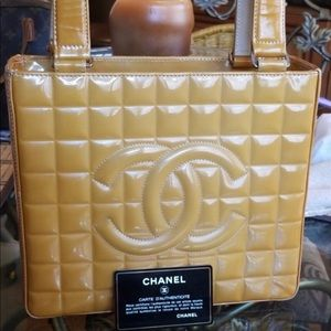 CHANEL Caramel Quilted Lambskin Chocolate Bar Tote